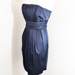 Midnight Blue Pleated Strapless Guilia Dress